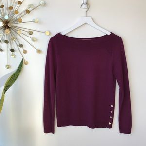 Ann Taylor burgundy wool blend boat neck sweater
